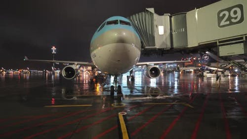 Night view of boarding Korean Air plane