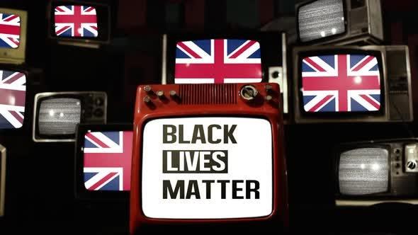 Thumbnail for Black Lives Matter Logo and UK Flags on Retro TVs.