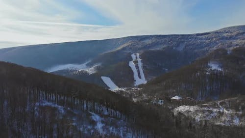 Panorama of Winter Mountains Covered with Snow Among in the Carpathians