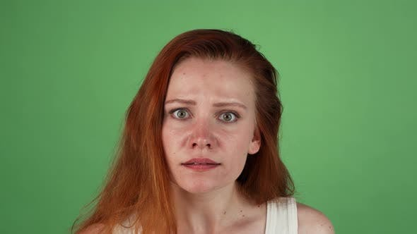 Thumbnail for Angry Red Haired Woman on Green Chromakey