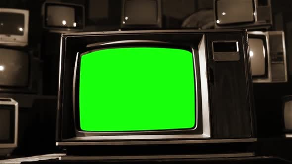 Thumbnail for Vintage Television Green Screen in the Middle of Many Tvs. Aesthetics of the 80s. Sepia Color.