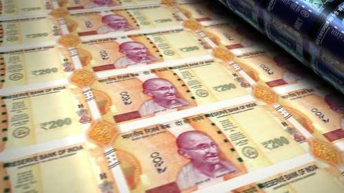 Indian rupee money banknotes printing seamless loop