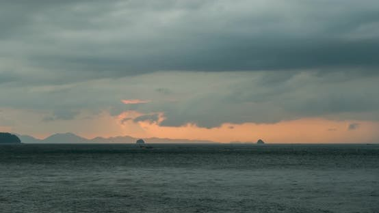 Thumbnail for Time-lapse of Light Rays Over the Sea or Ocean at Sunset. Hot Summer Weather at Tropical. Panoramic