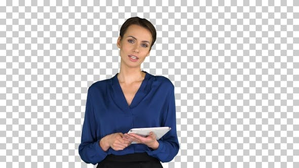 Thumbnail for Lady with short hair wearing formal clothes, Alpha Channel