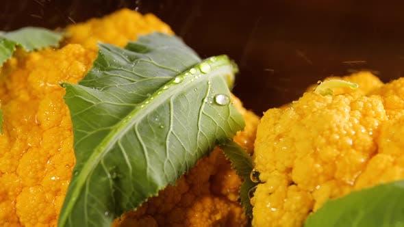 Thumbnail for Cauliflower With Drops of Water, Beautiful Macro Video, Beautiful Raw Organic Food Vegetables