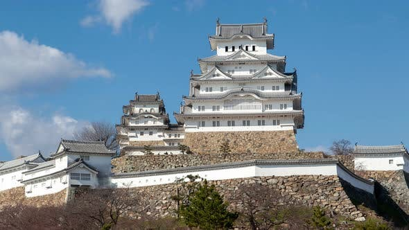 Himeji Palace Complex on Hill Top on Day Timelapse