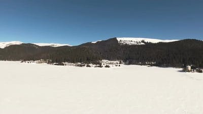Mountain Frozen Lake With Clear Sky