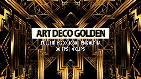 Thumbnail for Art Deco Golden Loop Background