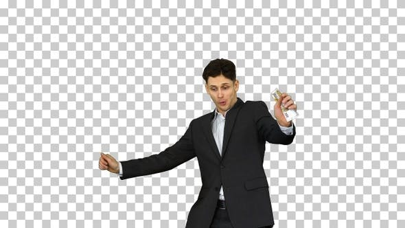 Thumbnail for Young happy businessman dancing after, Alpha Channel