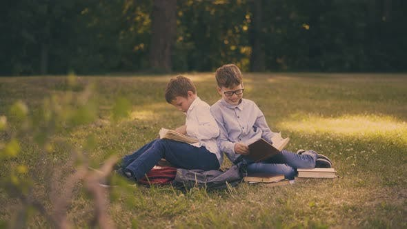 Thumbnail for Schoolboys Have Fun Preparing for Tests with Books on Lawn