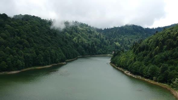 Beautiful Lake Drone View