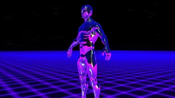Retrofuturistic metal man with a grid laser landscape
