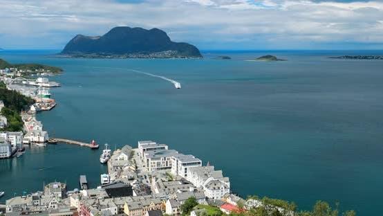 Alesund, Norway. Aerial View Of Alesund Skyline Cityscape. Historical Center In Island. Famous