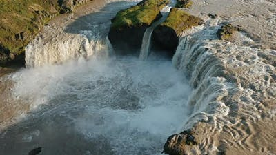 Iceland Landscape Drone Static Footage of Godafoss Waterfall
