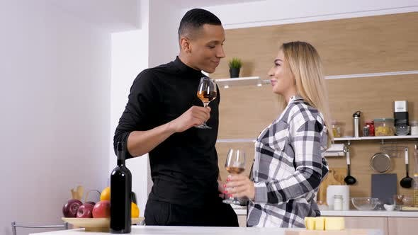 Thumbnail for Beautiful Young Interracial Couple Drinking Wine