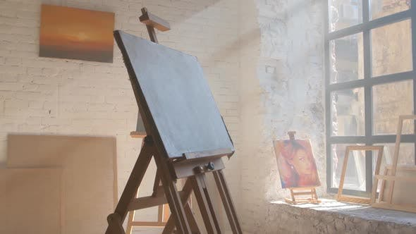 Thumbnail for Clear Canvas on Wooden Easel Ready To Be Painted in Art Workshop