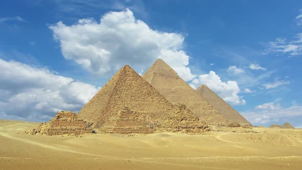 Thumbnail for Timelapse with Clouds Over Great Pyramids at Giza Cairo in Egypt