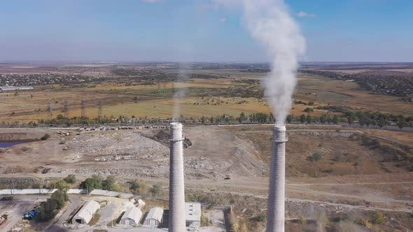 Aerial video. Bad Ecology Smoke From Pipes