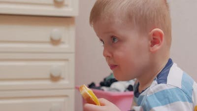 Boy Chews A Sandwich