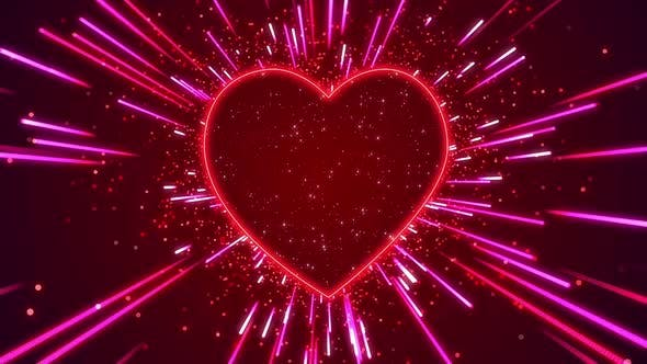 Heart Neon Particles Hd