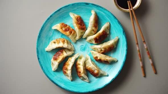 Thumbnail for Traditional Asian Dumplings Gyozas on Turqoise Ceramic Plate