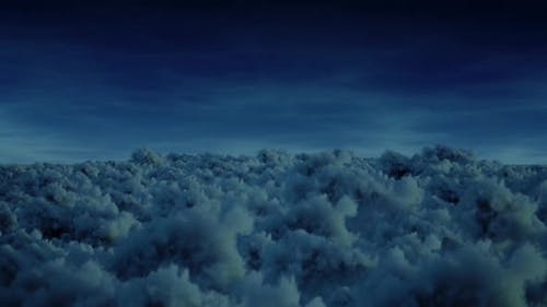 Fyling Over Storm Clouds At Night Moonlight  Seamless Loop