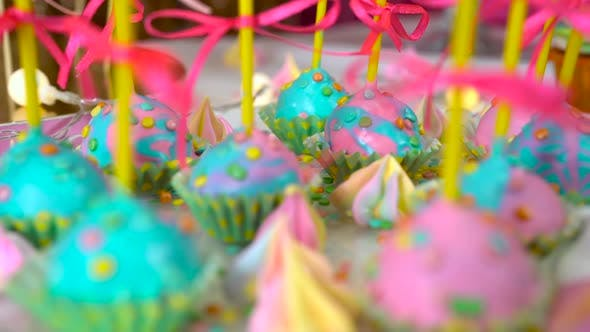 Thumbnail for Modern Children's Birthday Party. Unicorn Themed Treats, Close-up Against Colorful Background