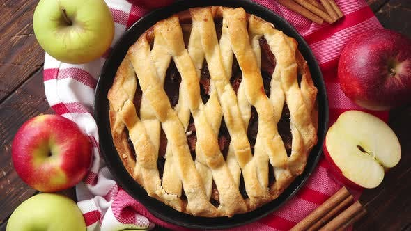 Thumbnail for Homemade Pastry Apple Pie with Bakery Products on Dark Wooden Kitchen Table