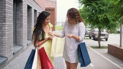 Two Girl Friends Discuss Shopping After Shopping