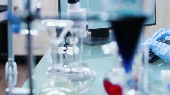 Thumbnail for Dolly Shot of Modern High End Laboratory Elements, Tubes and Colored Liquids