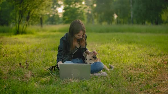 Thumbnail for A Girl in a Park Next To an Open Laptop Is Petting Her Dog.
