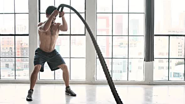 Cover Image for Athletic Male Workout Crossfit Slow-Motion