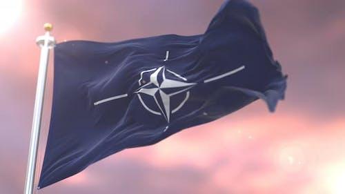 NATO Flag at Sunset