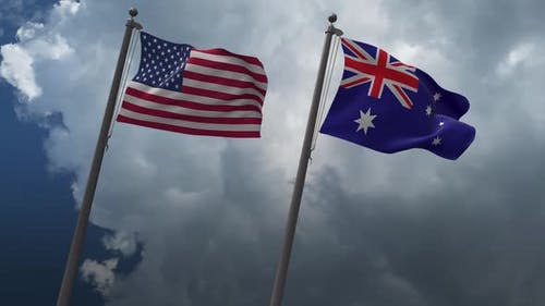 Waving Flags Of The United States And The  Australia 2K