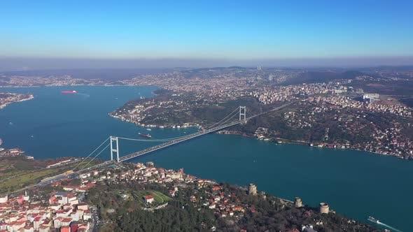Thumbnail for Istanbul Bebek Bosphorus Aerial View And Bridge 2