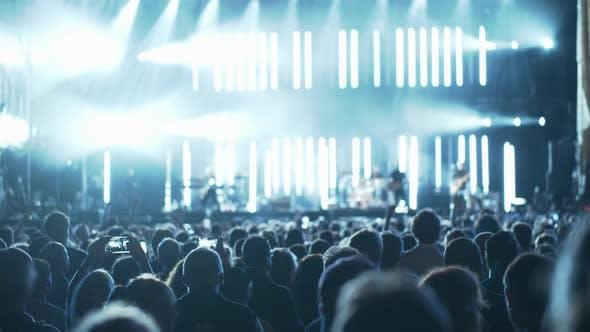 Crowd of fans enjoying music show