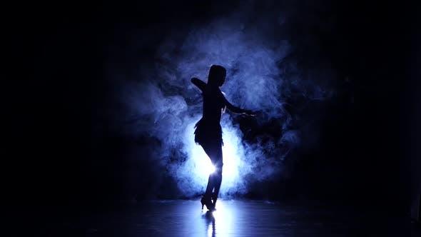 Thumbnail for Graceful Girl Dancing in Studio, Silhouette. Dark Background, Blue Backlight