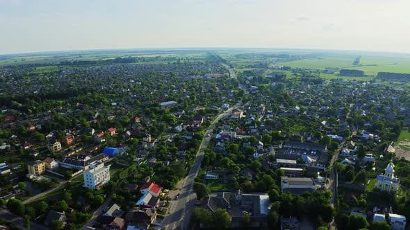 Cover Image for Aerial View At Sunset In The City Of Berdychiv, Ukraine