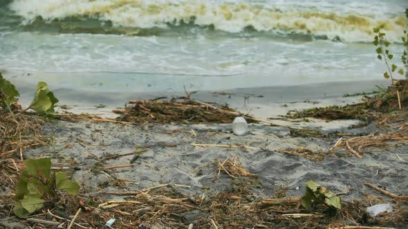 Thumbnail for Polluted Water Splashing on Shore, Danger to Health, Environmental Disaster