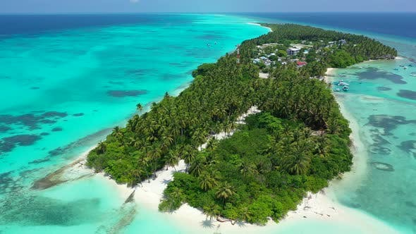 Thumbnail for Wide angle birds eye copy space shot of a white sand paradise beach and turquoise sea background in
