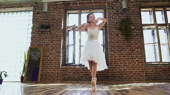 Thumbnail for Young Ballerina in White Tutu and Ballet Shoes is Practicing Dance Moves