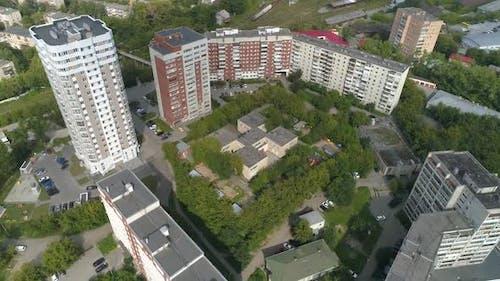 Aerial view of preschool building in big city 03