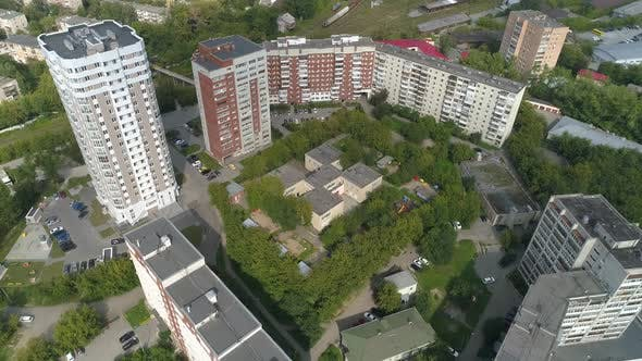 Aerial view of preschool building in big city 03