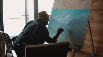 Painter Drawing in a Workshop.