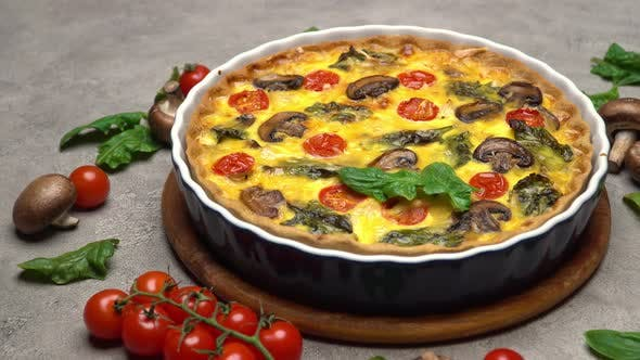 Thumbnail for Baked Homemade Quiche Pie in Ceramic Baking Form