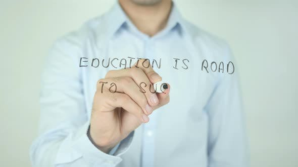 Cover Image for Education Is Road To Success, Writing On Screen