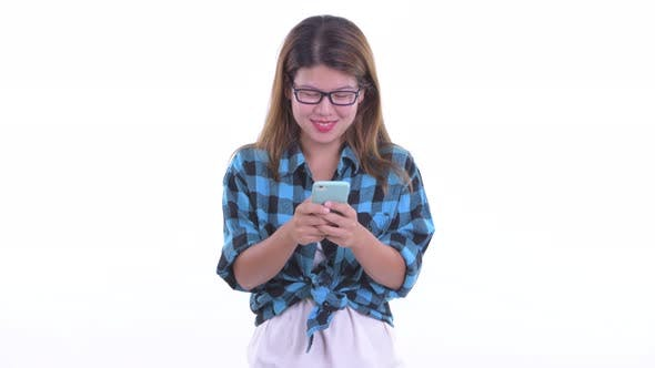 Thumbnail for Happy Young Asian Hipster Woman Using Phone
