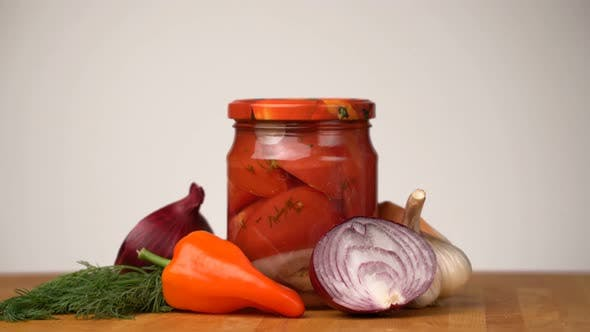Thumbnail for Footage Glass Jars with Salted Vegetables for the Winter Rotated on Table.