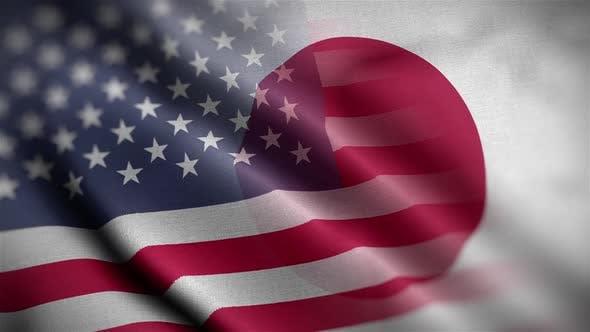 USA Japan Flag Mix Textured Waving Close Up Background HD