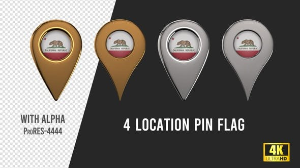 Thumbnail for California State Flag Location Pins Silver And Gold